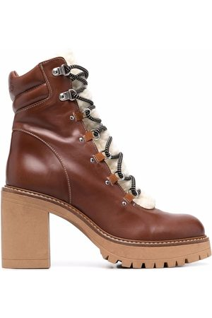 Pinko Shearling lace-up ankle boots