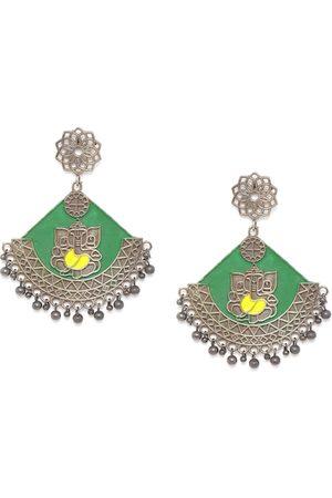 Anouk Green Oxidised Silver-Plated Enamelled Drop Earrings
