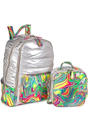 Bari Lynn Girl's Marble Multicolor 2-Piece Backpack & Lunch Box Set