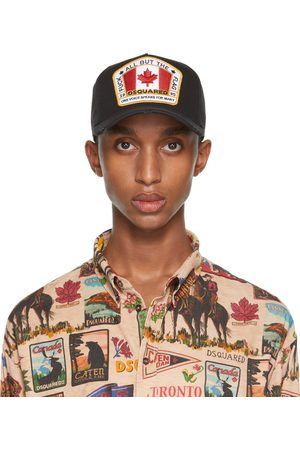 Men Caps - Dsquared2 Black Embroidered Patch Baseball Cap