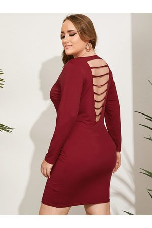 YOINS Plus Size Backless Design Cut Out Long Sleeves Dress