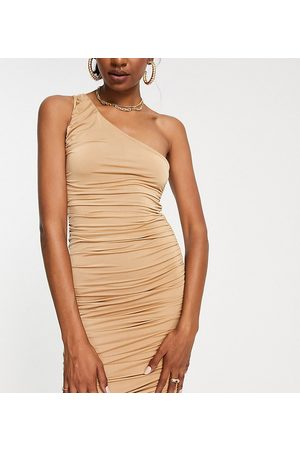 Missguided Tall Slinky one shoulder dress in sand