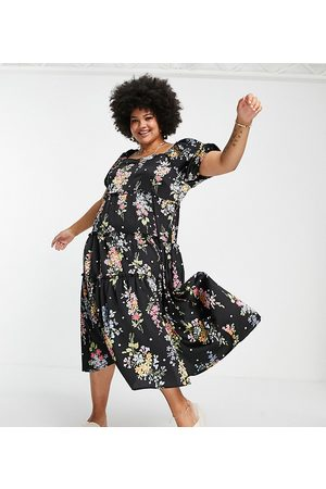 Simply Be Satin midi smock dress with tiered hem in black floral print