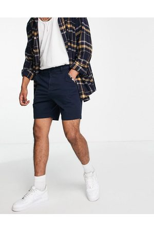 Hollister 7in flat front chino shorts in