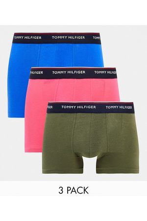 Tommy Hilfiger 3 pack trunks with logo waistband in blue/pink/olive