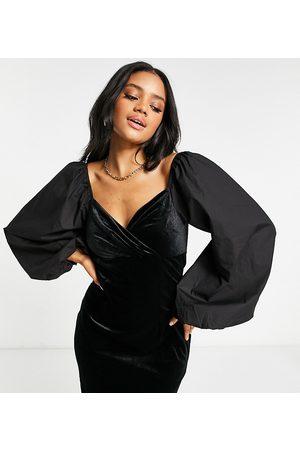 Missguided Velvet wrap dress with poplin sleeve in