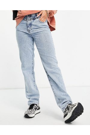 NA-KD Organic cotton contrast detail straight leg jeans in