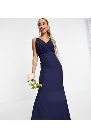 Missguided Bridesmaid bandeau gown with organza detail in