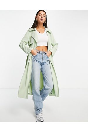 River Island Belted trench coat in sage
