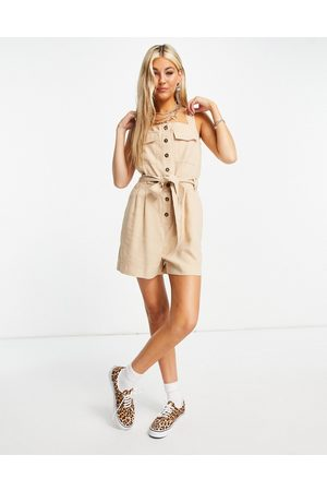 ONLY Utility playsuit with button front in beige
