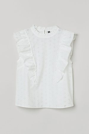 H & M Women Tank Tops - Broderie anglaise flounced top