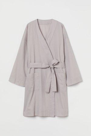 H&M Women Evenings Dresses - Linen-blend dressing gown - Grey