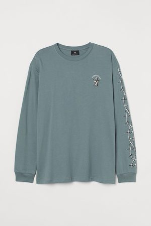H&M Men Tops - Oversized jersey top - Turquoise