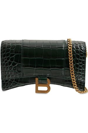 Balenciaga Hourglass Embossed Leather Chain Wallet