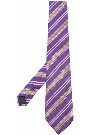 Trussardi Stripe-embroidered silk tie