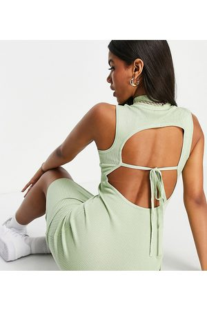 Missguided Co-ord ribbed backless midi dress with high neck in sage