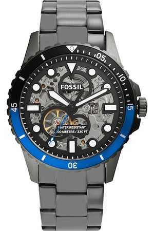 Fossil Men Black Skeleton Dial & Gunmetal Toned Stainless Steel Bracelet Style Straps Analogue Automatic Watch