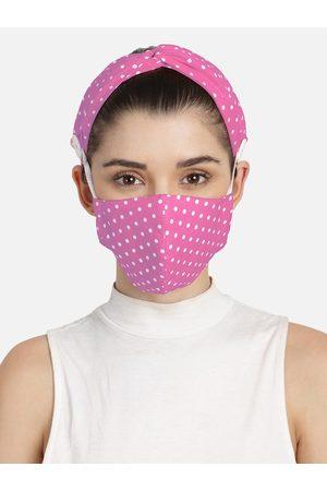 Anekaant 3-Ply Pink & White Polka Dot Printed Cotton Fabric Fashion Hairband & Mask