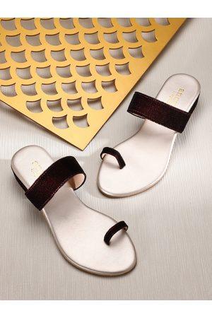 Anouk Women Burgundy Velvet Finish Block Heels