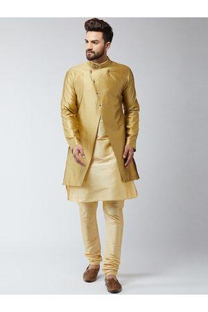 SOJANYA Men Gold-Toned Self Design Sherwani Set