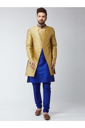 SOJANYA Men Blue & Gold-Toned Self Design Sherwani Set
