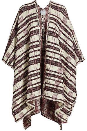ST. JOHN Women Ponchos & Capes - Plaid Plain Weave Knit Cape