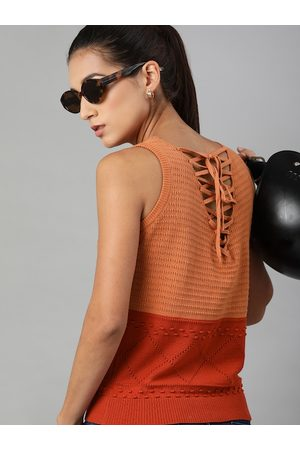 Roadster Orange Self Striped Crochet Styled Back Top with Tie-Ups
