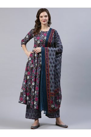 Nayo Women Grey Floral Printed Pleated Floor Length A-Line Pure Cotton Kurti & Palazzos