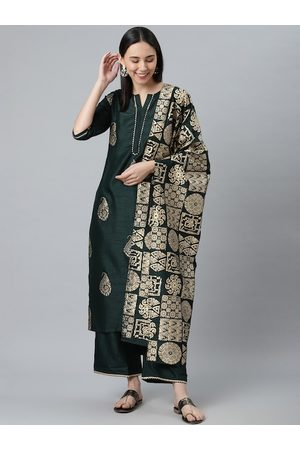 Libas Women Green Ethnic Motifs Embroidered Pleated Kurti with Sharara & With Dupatta