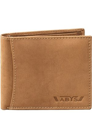 ABYS Men Tan Solid Leather Two Fold Wallet