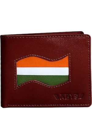 ABYS Men Brown & Orange Self Design Leather Two Fold Wallet