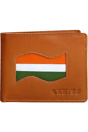 ABYS Men Tan Colourblocked Leather Two Fold Wallet