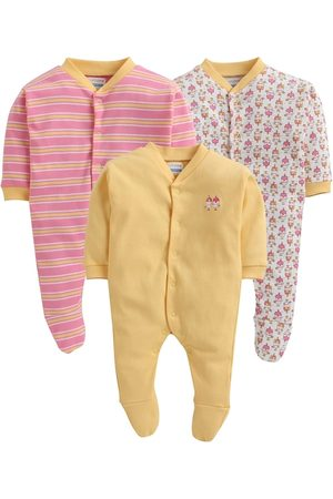 BUMZEE Infant Girls Pack Of 3 Printed Cotton Sleepsuits