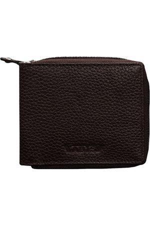 ABYS Men Coffee Brown Textured Leather Zip Around Wallet