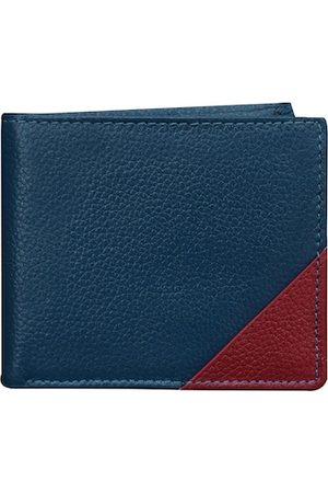 ABYS Men Blue & Maroon Textured Leather Two Fold Wallet