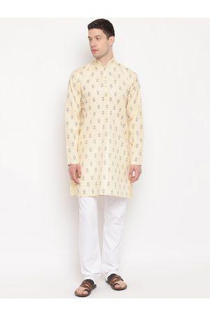 AJ DEZINES Men Beige Ethnic Motifs Printed Pure Cotton Kurta with Pyjamas