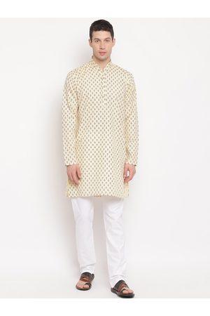 AJ DEZINES Men Yellow Ethnic Motifs Printed Angrakha Pure Cotton Kurta with Pyjamas