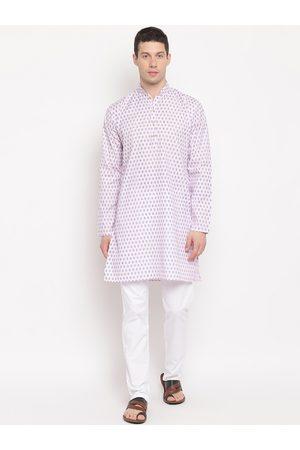 AJ DEZINES Men Pink Ethnic Motifs Printed Pure Cotton Kurta with Pyjamas