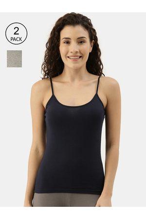 appulse Women Vests - Women Pack Of 2 Solid Cotton Camisoles