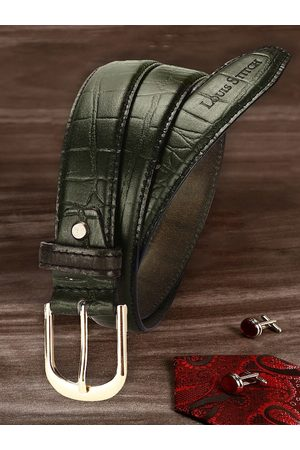 LOUIS STITCH Men Green Textured Leather Belt