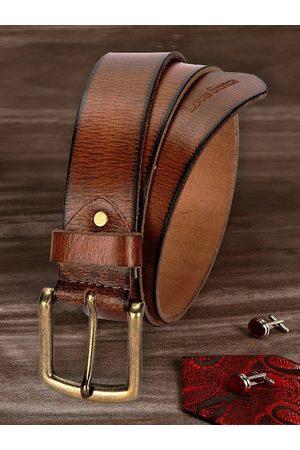 LOUIS STITCH Men Belts - Men Brown Leather Belt