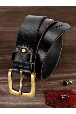 LOUIS STITCH Men Belts - Men Black Textured Leather Belt