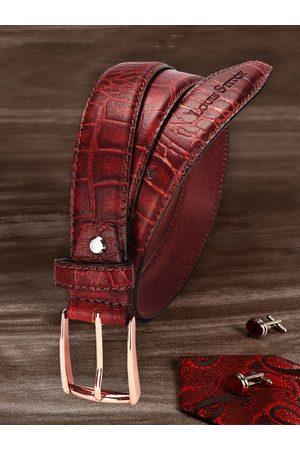 LOUIS STITCH Men Red Textured Leather Belt