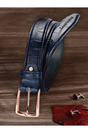 LOUIS STITCH Men Belts - Men Navy Blue Textured Leather Belt