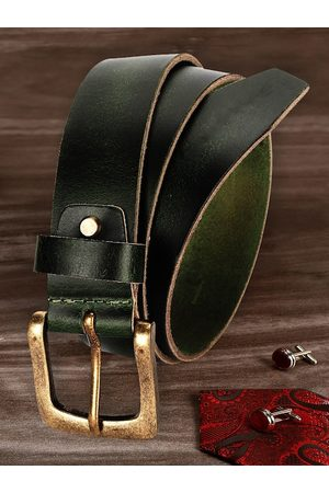 LOUIS STITCH Men Green Leather Belt