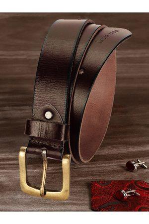LOUIS STITCH Men Brown Textured Leather Belt