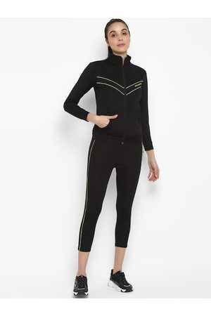 OFF LIMITS Women Black & Green Solid Track Suit