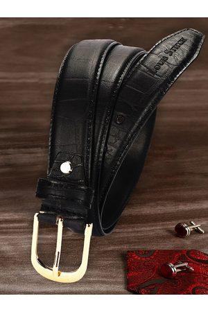 LOUIS STITCH Men Black Textured Leather Belt
