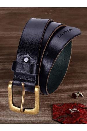 LOUIS STITCH Men Navy Blue Textured Leather Belt