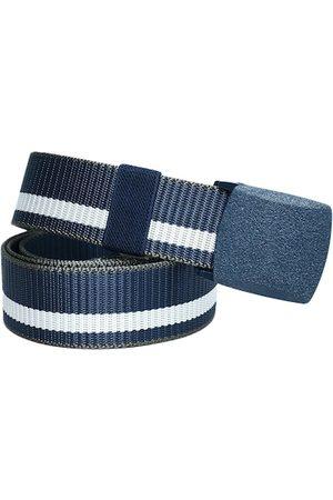 Kastner Men Belts - Men Navy Blue & White Striped Canvas Belt